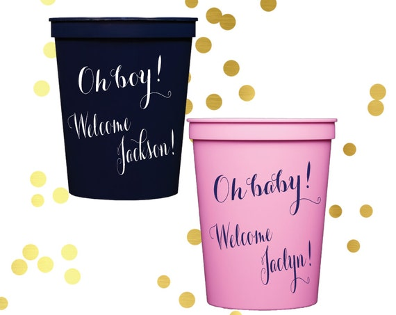 baby shower plastic cups, personalized cups, gender reveal party favor, custom cups, personalized party favor, gender reveal party cups