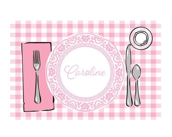 Personalized placemat, Kids Personalized Placemat, Customized Placemats for kids, Girls placemat, Pink gingham placemat, Craft mat
