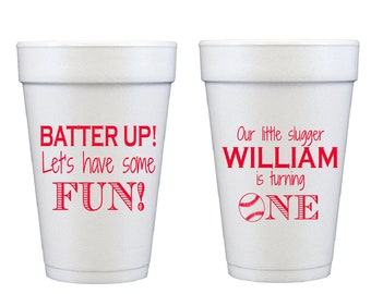Personalized birthday cups, Baseball birthday party cups, Baseball themed party decor, Kids birthday party cups, Boy birthday party favor