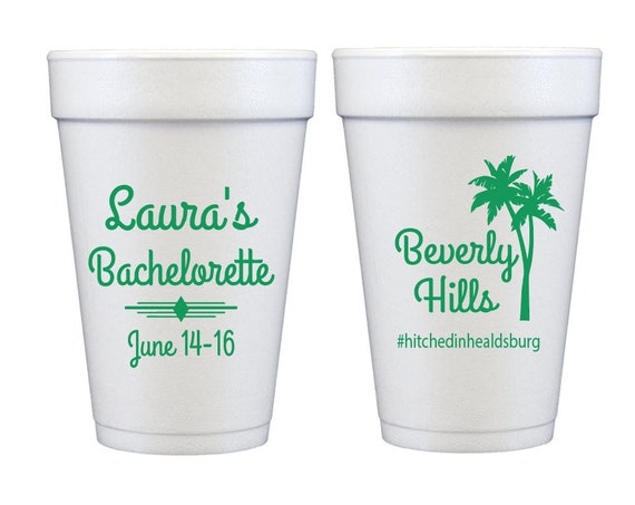 Beverly hills bachelorette, Beverly hills hotel cups, Palm tree cup, Personalized bachelorette party cups, Bachelorette cups, Banana leaf