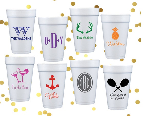 personalized foam cups, personalize cups, party cups, foam cups, birthday party cups, wedding reception cups, pool party, lake house cups