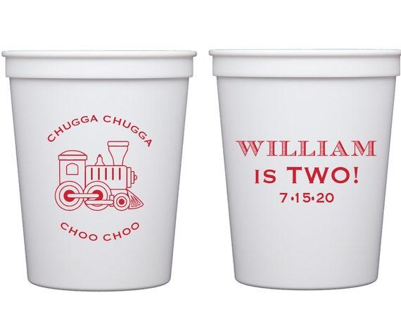 Train birthday cups, Train birthday favor, Train birthday decor, Chugga chugga choo choo cups, Train first birthday, Personalized cups