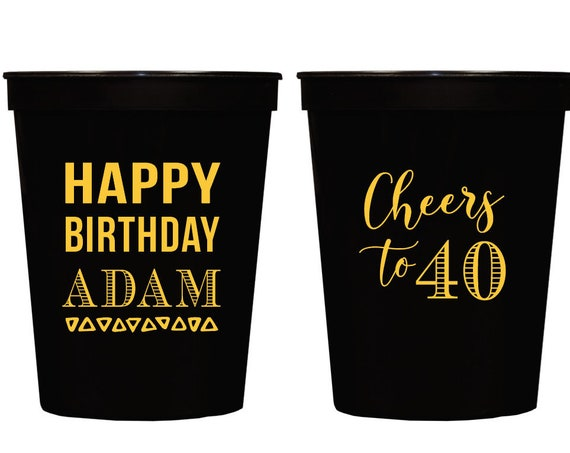 Cheers to 40, 40th birthday cups, Over the hill birthday cups, Adult birthday party favor, Adult birthday party cups, Birthday cups for men