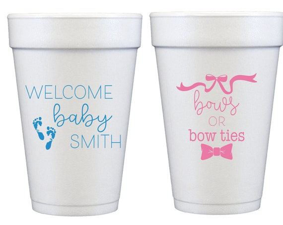 Gender reveal party cups, Gender reveal baby shower cups, Bow or bow tie, Pink or blue, Personalized foam cups, Baby shower favor