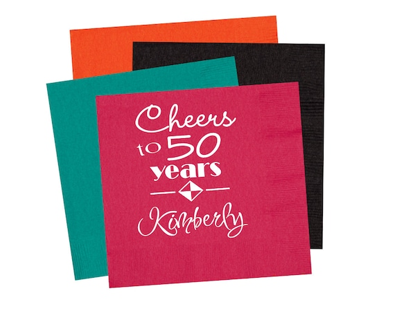 50th Birthday napkins Birthday party napkins birthday party decor birthday party supplies adult birthday party 40th birthday party napkins