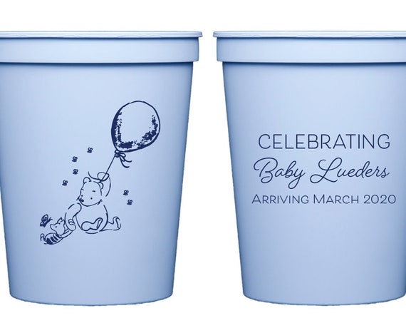 Classic Winnie the Pooh baby shower favor, Winnie the Pooh baby shower cups, Personalized baby shower cups, Baby boy shower decor