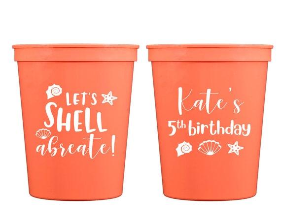 Beach birthday, Shell abrate birthday, Beach theme cups, Beach theme birthday, Kids birthday cups, Personalized birthday cups, plastic cups