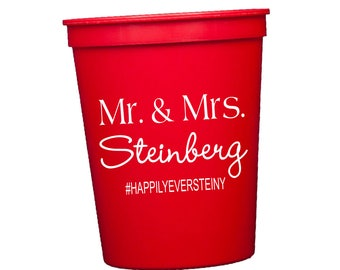 Cheers to Mr & Mrs Wedding Cups, Personalized Cups, Reception Stadium Cups, Plastic Cups, Monogram Cups, Wedding Favor, Southern Wedding