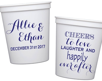 monogrammed wedding cups, personalized plastic cups, custom wedding favor, cheers to love reception cups