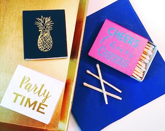 Foil stamped matches, candle matches, party matches, matchbox, hostess gift idea, candle accessory, home sweet home decor, pineapple decor