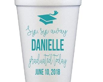 Graduation cups, Grad party cups, personalized cups, custom foam cups, college graduation cups, High school graduation cups, sip sip away