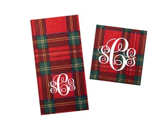 Christmas napkins, Holiday napkins, Christmas plaid napkins, Monogrammed napkins, Festive napkins, Holiday decor, Hostess gift idea