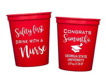 Registered nurse graduation plastic cups, Personalized plastic cup, college graduation party favor, drink with a nurse, personalized cup