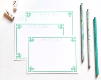 Personalized notecards, Personalized stationery set, flat notecards, greek key stationery, chinoiserie stationery, monogrammed notecards,