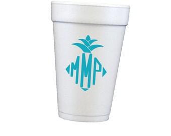 Pineapple monogram cups, personalized cups, foam cups, styrofoam cups, monogrammed cups, pool cups, beach cups, housewarming gift idea