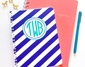 Personalized notebook, monogrammed spiral notebook, monogrammed notebook, striped notebook, striped notebook, cute office supplies