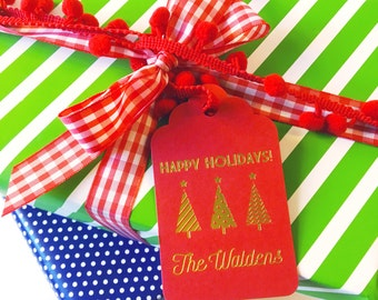 Christmas gift tag, holiday gift tag, foil stamped gift tag, custom wine tag, party favor tag, personalized gift label, wine label
