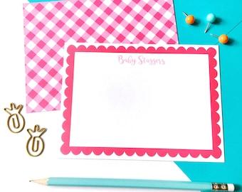 baby stationery Gingham stationery personalized notecard baby girl stationery pink stationery scalloped stationery personalized stationery
