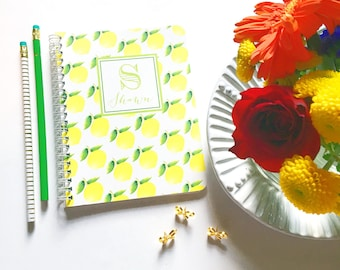 Personalized notebook, fruity spiral notebook, monogrammed notebook, custom notebook, preppy notebook, lemon stationery, summer stationery