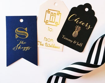 Personalized gift tag, monogrammed wine tags, foil stamped gift tags, reception gift tag, party favor tag, wine label, hostess gift