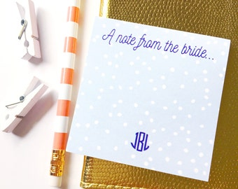A note from the bride, Bride notepad, Personalized Sticky Note, Personalized Post It Notes, wedding stationery, engagement gift, bride to be
