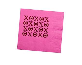 Valentines napkins, vday napkins, valentines decor, foil stamped napkin, xoxo napkins, pink cocktail napkins, cute napkins, party napk