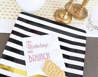 Brunch napkins, birthday brunch, personalized cocktail napkins, birthday napkins, brunch birthday party napkins, custom napkins