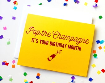 Foil stamped birthday card, pop the champagne, birthday month greeting card, cute snail mail, funny birthday card, happy birthday card