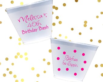 30th birthday Personalized frosted cups, polka dot shatterproof cup, birthday party favor, 40th birthday party decorations, wine lover cups