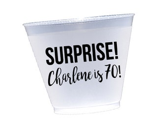 Surprise birthday party cups, surprise party cups, personalized plastic cups, personalized shatterproof cups, adult birthday party cups