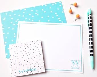 Polka dot personalized notecards, stationery set, flat notecards, custom stationery, set of 10