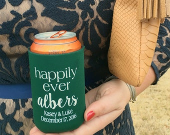 Happily ever after can cooler, wedding reception drink sleeve, reception hugger, reception favor, cocktail hour, rehearsal dinner cooler