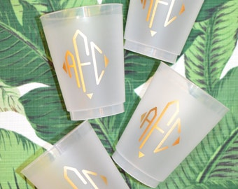 Personalized frosted cups, shatterproof cup, diamond monogram, monogrammed party favor, wedding cup favors, reception cup, custom plastic cu
