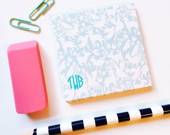 Otomi Sticky Notes, Personalized Post It Notes, Monogrammed notepad, Custom Notepad, Otomi print notepad, circle monogram stationery gift