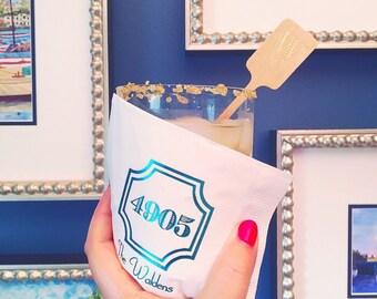 Housewarming party, custom napkins, personalized cups, monogrammed napkins, frost flex cups, beverage napkins, home address decor