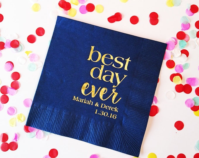 Featured listing image: best day ever napkins, cocktail napkins, reception napkins, wedding napkins