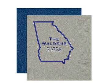 Housewarming napkins, Housewarming party favor, Zip code napkins, State pride napkins, State outline napkins, Housewarming gift idea