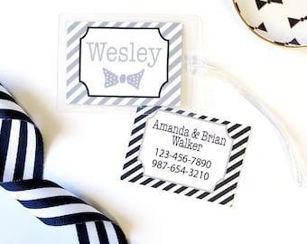 diaper bag tag, baby boy gift idea, luggage tag, gym bag tag, travel tag, personalized luggage tag, bowtie gift tag