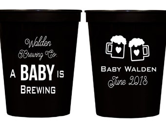 A baby is brewing, Baby shower cups, Gender reveal cups, Couples baby shower cups, Personalized plastic cups, Gender reveal party