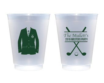 Masters cups, Golf party cups, Golf themed party, Golf birthday party, Green jacket cups, Masters viewing party cups, Personalized cups