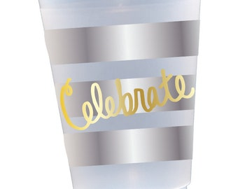 Frosted cups, shatterproof cups, striped plastic cups, personalized shetterproof cups, Hostess gift, Bar cart supplies, beach cups