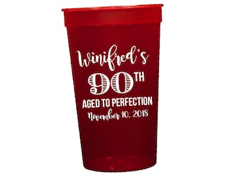 Personalized birthday cups, Birthday party cups, 90th birthday party cups, Aged to perfection, Personalized plastic cups, Grandma birthday