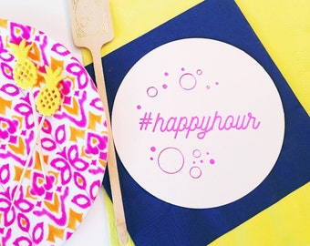 Happy hour coasters, personalized coasters, custom coasters, bar cart coasters, hostess gift, foil stamped coasters, diaposable coaster