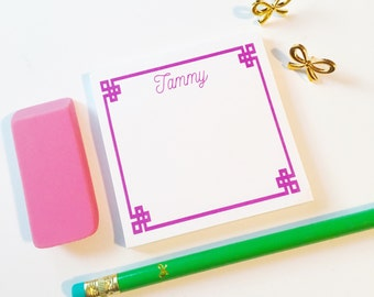 Personalized greek key sticky notes, Personalized Post It Notes, Custom Notepad, Monogrammed Note Pad, Personalized Office Supplies
