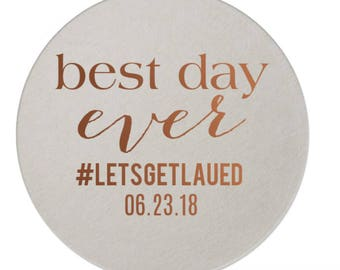 Best day ever coasters, wedding coasters, personalized coasters, custom coasters, foil stamped coasters, personalized reception coasters