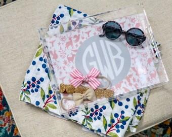 Monogram tray, Otomi tray, acrylic tray, nursery decor tray, otomi print tray, bow organizer, baby shower gift idea, baby girl gift