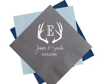 antler napkins, wedding reception napkins, rustic wedding napkins, personalized napkins, custom napkins, personalized cocktail napkins
