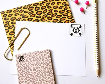 Animal print personalized notecards, monogrammed stationery set, flat notecards, cheetah print stationery, leopard print note cards