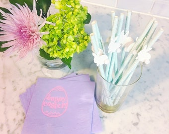 SALE Easter napkins, foil stamped easter egg napkins, Easter egg hunt decorations, Easter gift, Easter decorations