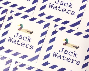 Duck gift tag, Boy stationery, Baby boy gift tag, Boy enclosure card, personalized gift tag, kids enclosure card, Kids stationery, stripes